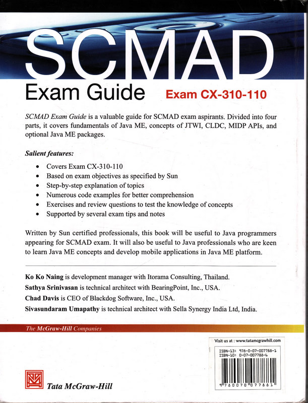 SCMAD Exam Guide - Back Cover